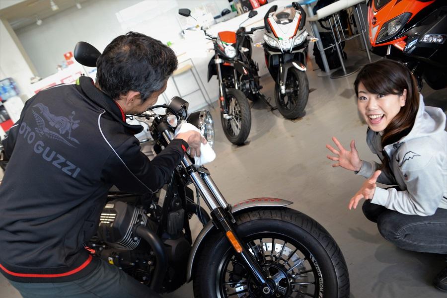 シュアラスター|ゼロフィニッシュ|カネバン|motoguzzi|モトグッツィ|motoguzziv9bobber|バイク|試乗車|木村亜美|あみーご